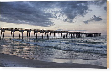Pier In The Evening Wood Print by Sandy Keeton