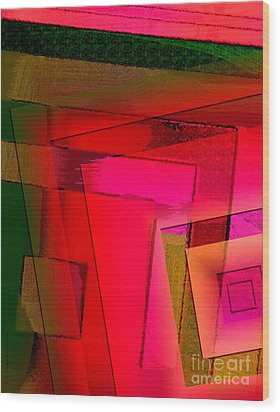 Pink And Green Geometric Art Wood Print by Mario Perez