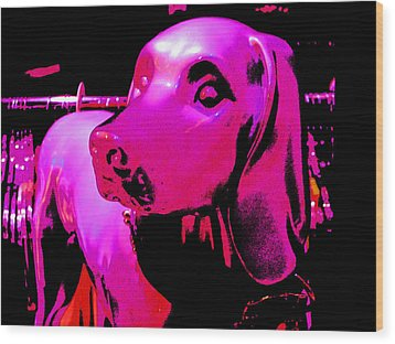Pink And Purple Pooch Wood Print by Kym Backland