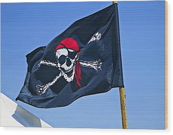 Pirate Flag Skull With Red Scarf Wood Print by Garry Gay