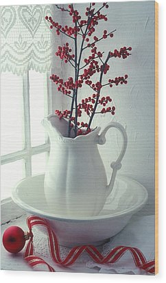 Pitcher With Red Berries  Wood Print by Garry Gay