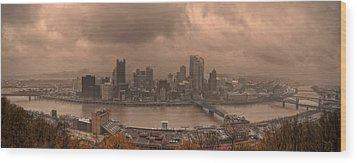Pittsburgh Skyline 1 Wood Print by Wade Aiken