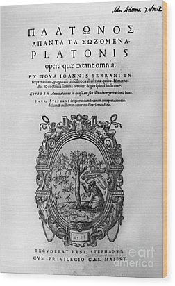 Plato: Title Page Wood Print by Granger