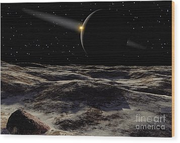 Pluto Seen From The Surface Wood Print by Ron Miller