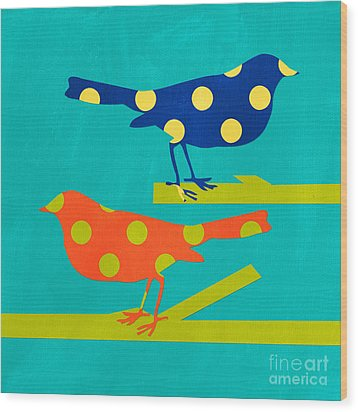 Polka Dot Birds Wood Print by Linda Woods