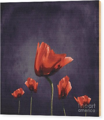 Poppies Fun 02b Wood Print by Variance Collections
