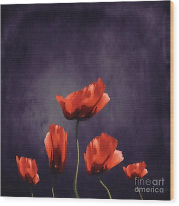 Poppies Fun 03b Wood Print by Variance Collections