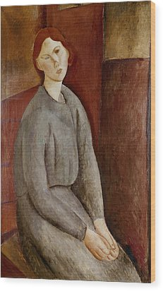 Portrait Of Annie Bjarne Wood Print by Amedeo Modigliani