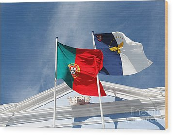 Portugal And Azores Flags Wood Print by Gaspar Avila