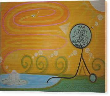 Positive Pondering Wood Print by Cory Green