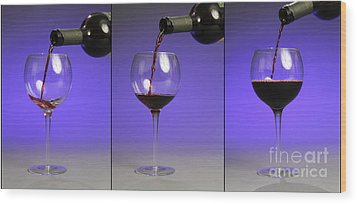 Pouring Wine Wood Print by Photo Researchers, Inc.
