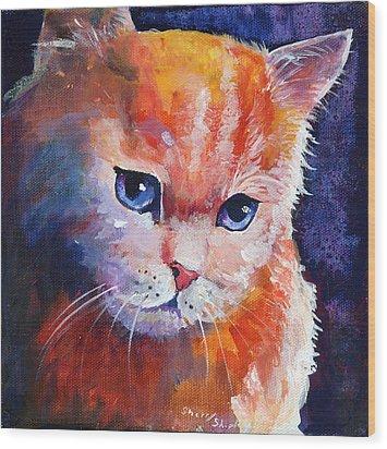 Pouting Kitty Wood Print by Sherry Shipley