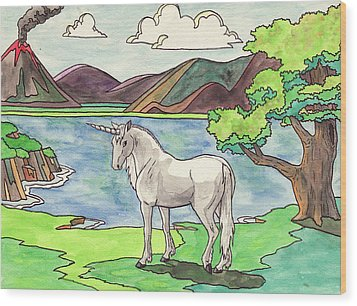Prehistoric Unicorn Wood Print by Crista Forest