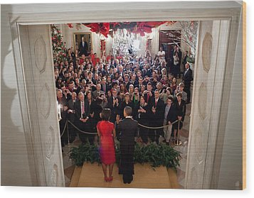 President And Michelle Obama Address Wood Print by Everett