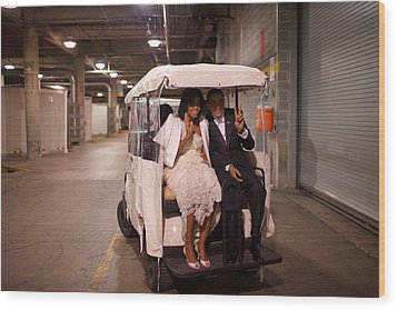 President And Michelle Obama Ride Wood Print by Everett