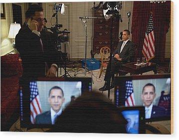 President Barack Obama Conducting Wood Print by Everett