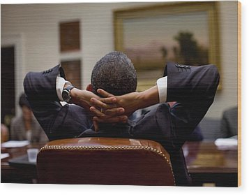 President Barack Obama Leans Back Wood Print by Everett