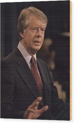 President Jimmy Carter Speaking Wood Print by Everett