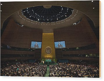 President Obama Addresses The Un Wood Print by Everett
