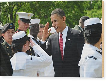 President Obama Salutes A Sailor Wood Print by Everett