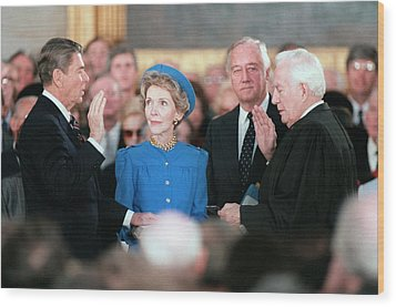 President Reagan Taking The Oath Wood Print by Everett