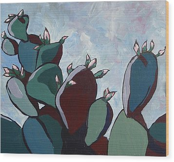 Prickly Pear Stand Wood Print by Sandy Tracey
