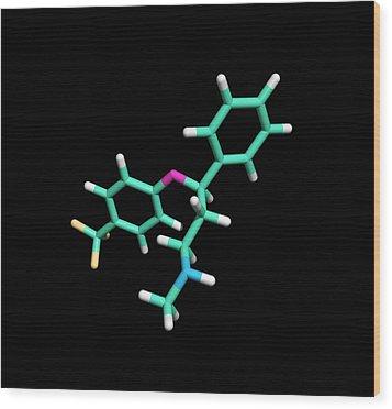 Prozac Antidepressant Drug Molecule Wood Print by Dr Tim Evans