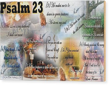 Psalm 23 Wood Print by Barbara Judkins-Stevens