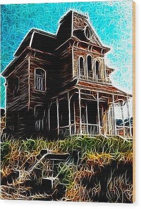 Psycho House Wood Print by Paul Van Scott