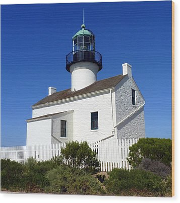 Pt. Loma Lighthouse Wood Print by Carla Parris