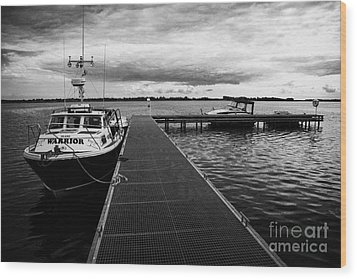Public Jetty And Island Warrior Ferry On Rams Island In Lough Neagh Northern Ireland  Wood Print by Joe Fox