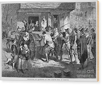 Puritans And Quakers, 1677 Wood Print by Granger