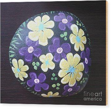 Purple And Yellow Flowers Wood Print by Monika Shepherdson