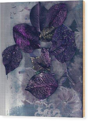 Purple Leaves All Glittery Wood Print by Anne-Elizabeth Whiteway