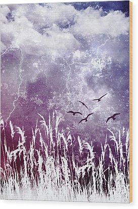 Purple Skies Wood Print by Ellen Heaverlo