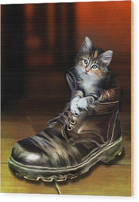 Puss In Boot Wood Print by Julie L Hoddinott