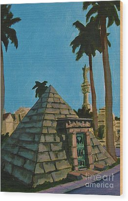 Pyramid Tomb In Cemetary Wood Print by John Malone