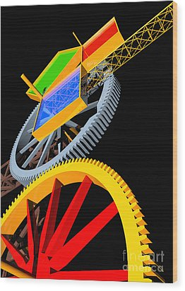 Pythagorean Machine Portrait 5 Wood Print by Russell Kightley