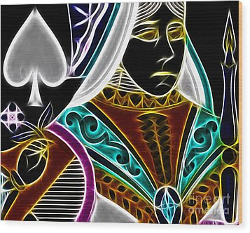 Queen Of Spades - V4 Wood Print by Wingsdomain Art and Photography
