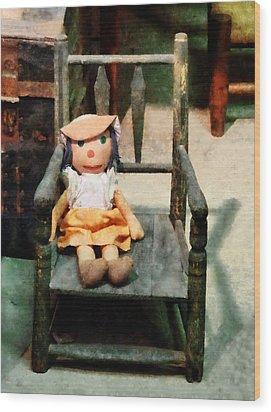 Rag Doll In Chair Wood Print by Susan Savad