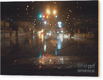 Rain Drop At Front Car Mirror Wood Print by Ngarare