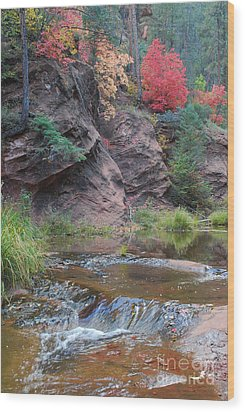 Rainbow Of The Season And River Over Rocks Wood Print by Heather Kirk