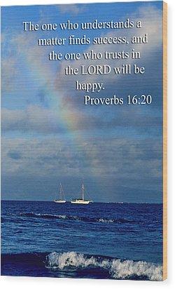 Rainbow Over Deep Blue Sea Pro. 16v20 Wood Print by Linda Phelps