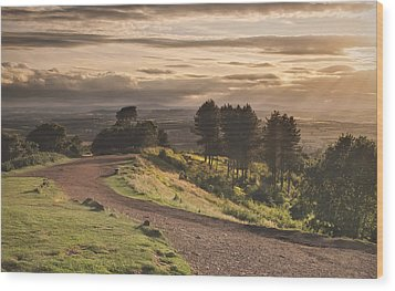 Rays Of Sunlight Over Clent Countryside Wood Print by Verity E. Milligan