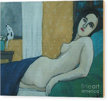 Reclining Nude With Cat Wood Print by Terri Jordan