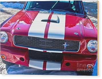 Red 1966 Mustang Shelby Wood Print by James BO  Insogna