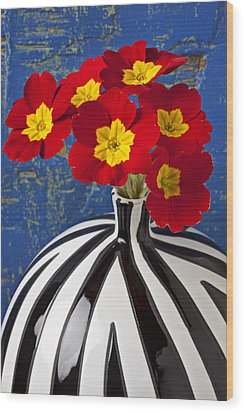Red And Yellow Primrose Wood Print by Garry Gay