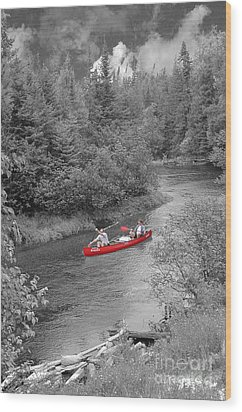 Red Canoe Wood Print by Jim Wright