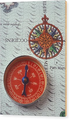 Red Compass And Rose Compass Wood Print by Garry Gay