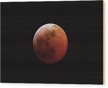 Red Eclipsed Moon Wood Print by Photography By Escobar Studios